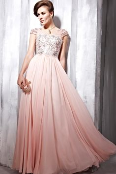 Pink and Silver Cap Sleeved Prom Dress @kiersten wendt