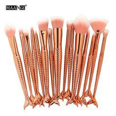 15pcs Mermaid Makeup Brushes Set Eyebrow Eyeliner Blush Blending Contour Foundation Make Up Brush