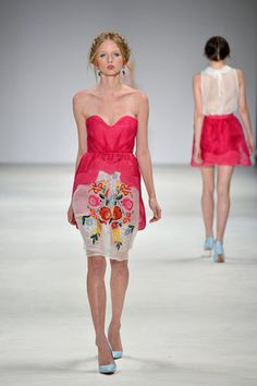 love this design with the overlay from top to skirt really cool raspberry colour dress!