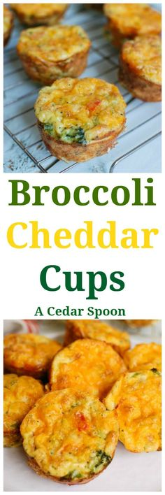 Broccoli Cheddar Cups are a healthy, kid-friendly breakfast, lunch or snack idea that the whole family will love. Broccoli, bell peppers and onions are mixed together with eggs and cheddar cheese and baked into delicious egg muffins packed with calcium and protein.// A Cedar Spoon