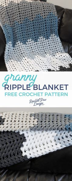 Make this crochet ripple blanket today with this free pattern! A great ripple blanket for beginners! A free crochet ripple afghan pattern from Rescued Paw Designs! Crochet Afghans, Crochet Ripple Blanket, Ripple Afghan, Crochet Baby, Chevron Crochet Blankets, Crotchet, Free Crochet, Crochet Throws, Crochet Granny
