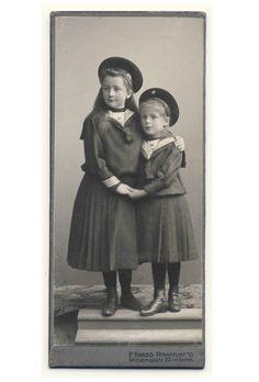 Antique CDV photo of two little girls sailor style dresses / fashion, circa 1910.