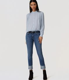 Primary Image of Modern Frayed Cuff Straight Leg Jeans in Medium Blue Wash
