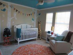 Painted teal ceiling in this gender neutral animal #nursery