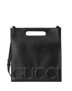 Linea Gucci XL Leather Tote Bag, Black by Gucci at Neiman Marcus.