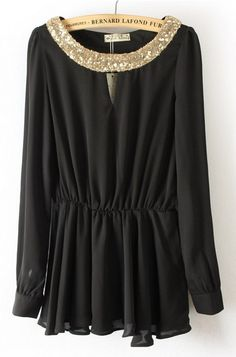 Black Long Sleeve Sequined Pleated Chiffon Blouse