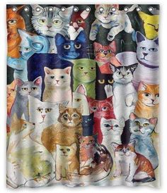All Cat Breeds Custom Cats Painting Waterproof Polyester Fabric Shower Curtain Cat Shower Curtain, Cool Shower Curtains, Shower Curtain Sizes, Custom Shower Curtains, Painting Shower, Kids Room Paint, Waterproof Fabric, Curtain Fabric, Cat Gifts