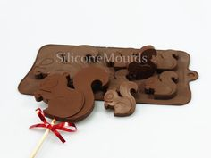 4+1 Squirrel Lolly / Chocolate Bar Silicone Mould