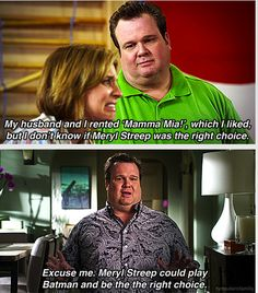 modern family Tv Quotes, Movie Quotes, Funny Quotes, Meryl Streep, Modern Family Quotes, Cam Modern Family, Modern Family Season 1, Dump A Day, Could Play