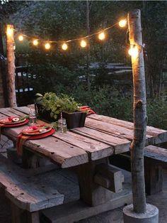 Outdoor Garden Lighting, Outdoor Dining, Outdoor Decor, Dining Area, Outside Garden Lights, Patio Bohemio, Backyard String Lights, Hippie Garden, Bohemian Garden Ideas