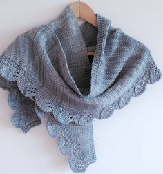 Free Knitting Pattern for Saroyan Shawl - Inspired by the character of Dr. Camille Saroyan in the tv show Bones, this graceful scarf features a stockinette body with a leaf lace shaped edge. Designed by Liz Abinante.  Pictured project by by pilarsalamanca, Available in English, French, Turkish, Portuguese, German, and Italian