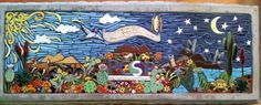 #Donor #memorial #garden #bench depicting the #Southwest #Arizona #desert.  The tile was handmade in our studio by Jamie Woodard.