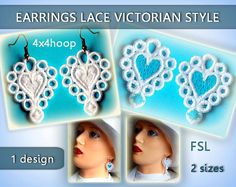 Earrings lace Victorian style FSL - Machine embroidery design.  please note: This is NOT a finished item that will be mailed to you. It is a digital file used for machine embroidery. You must have an embroidery machine. Used with water soluble stabilizer only. This jewerly lace designs requires a very thick soluable stabilzer. Can use (SOLVY FILM 80 - Stable Water-Soluble Embroidery) or (Vilene Water Soluble Embroidery Stabilizer & Backing - Wash Away - For Free Standing Lace ).  Earrings...