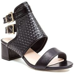 French Blu Anitah Cuff Sandal ($45) ❤ liked on Polyvore featuring shoes, sandals, black, open toe shoes, black ankle strap sandals, mid-heel sandals, open toe sandals and black shoes