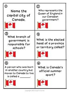 Canadian Government Scoot game for Gr. 5-9. $