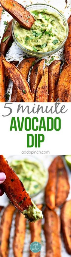 Avocado Dip (Avocado Crema) Recipe - This avocado dip recipe is quick, easy and delicious! It comes together in five minutes and is delicious served with so many dishes! // addapinch.com