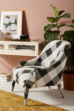 Anthropologie Buffalo Check Amelia Accent Chair