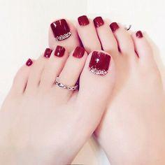 Toe Nail Color, Toe Nail Art, Nail Colors, Acrylic Nails, Nail Nail, Nail Polish, Pretty Toe Nails, Cute Toe Nails, My Nails
