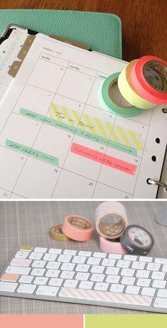 washi tape diary and keyboard