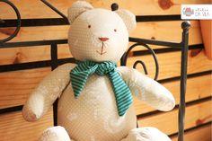 Boneca, urso, estampa, urso de pano