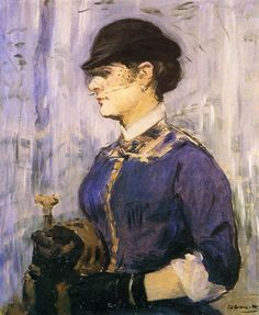Edouard Manet: 1877 Young Woman in a Round Hat  #art #painting