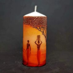 Large pillar candle - Under the fig tree - African design – Candle Affair Large Pillar Candles, Unique Candles, Red Maple Tree, Pillar Design, African Theme, Fig Tree, Christmas Candles, African Design, Burning Candle