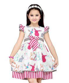 Loving this Pink Bunnies Layered A-Line Dress - Toddler & Girls on #zulily! #zulilyfinds