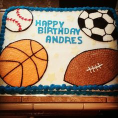 Sports birthday sheet cake