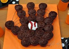 Baseball glove cupcakes- cute for T-Ball end of season party