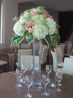 Lighthouse Vase with Hydrangea, Roses, and Mixed Greens