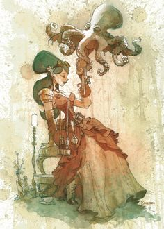 Tea painting of otto and victoria - Brian Kesinger #Tentacles #Octopus #Steampunk