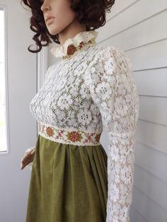 Vintage 60s Lace Dress Green Prairie Hippie Victorian by soulrust, $79.99