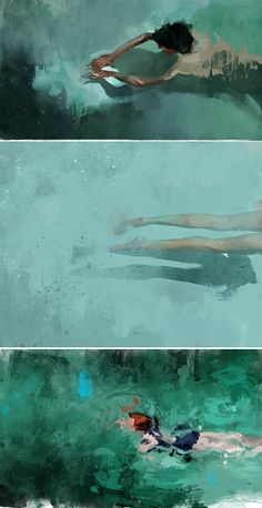 Pedro Covo / Swimmers - Pedro Covo / Swimmers on Behance - Figure Painting, Painting & Drawing, Painting Inspiration, Art Inspo, Illustrations, Illustration Art, Underwater Painting, Art Watercolor, Water Art