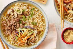 Add the ramen noodles, coleslaw mix, soy sauce and brown sugar. Ramen Recipes, Cooking Recipes, Recipies, Kimchi, Ramen Broth, Campbells Recipes, Ginger Pork, Bacon Soup, Coleslaw Mix