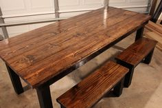 7 1/2 foot farmhouse table with two matching small benches for one side (other side will be chairs) http://carpenterjames.com