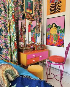 Maximalist Interior, Dressing Room, Vanity, Tapestry, Interior Design, House, Furniture, Art Inspo, Bedrooms