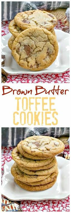 Brown Butter Toffee Cookies | Chewy cookies filled with toffee chunks with a nutty nuance thanks to brown butter! @lizzydo