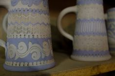 Two different potters and their styles in the Alsace village of Betschdorf. Alsace, My Photos, Pottery, Mugs, Tableware, Home, Style, Ceramica, Swag