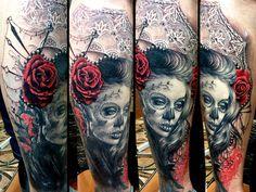 Realistic Muerte Tattoo by Zsofia Belteczky | Tattoo No. 12145