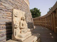 Lord Buddha Statue on the periphery of Main Sanchi Stupa Great Stupa At Sanchi, The Great Stupa, Sanchi Stupa, Buddhist Architecture, Construction, Mount Rushmore, Sidewalk, India, Statue