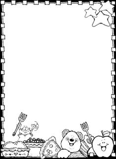 paper border drawing of teddy bear and food items Dj inkers Clip Art - ezpinita - Picasa Web Albums Más Dj Inkers, Kindergarten Portfolio, Quiet Book Templates, Boarders And Frames, School Frame, Page Borders, Borders For Paper, Activity Sheets, Free Printable Coloring Pages