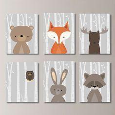 Woodland Nursery Art: This six-print set features six images of woodland animals: moose, bear, owl, raccoon, rabbit and fox, on a birch
