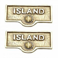 2 Switch Plate Tags ISLAND Name Signs Labels Lacquered Brass