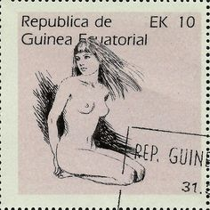 Stamp: Female Nude (Equatorial Guinea) (Nude drawings) Mi:GQ 1234,Yt:GQ 100B