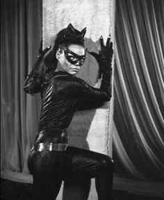 "Eartha Kitt as Catwoman (Batman -- Orson Welles called her ""the most exciting girl in the world"". Kitt had been in show business almost twenty years before she played Catwoman, and worked another forty after. Julie Newmar, Catwoman Cosplay, Divas, Eartha Kitt Catwoman, Black Is Beautiful, Beautiful People, Robin, Dc Movies, Portraits"