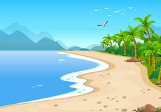 Beach Background, Cartoon Background, Vector Background, Background Colour, Cute Wallpapers, Wallpaper Backgrounds, Beach Cartoon, Episode Interactive Backgrounds, Island Theme