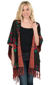 Flying Tomato Women's Black with Rose Print Sweater Kimono Cardy | Cavender's