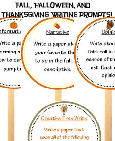 fall, Halloween, and Thanksgiving themed writing prompts. cute idea!