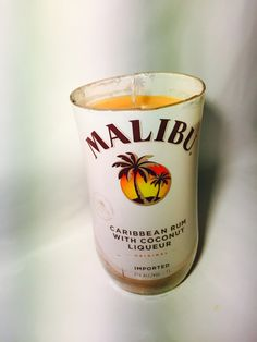 New to BrandYourCandle on Etsy: 100% Soy Wax candle made from up cycled Malibu Rum bottles in various scents (27.00 USD)