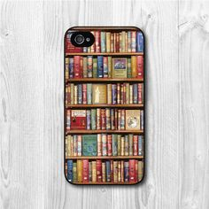 Bookshelf iPhone 4 case, iphone 4s case, Book Lovers  iphone 4 4s 4g hard case, cover skin case for iphone 4/4g/4s cover Price: $ 6.99  IDEA: Use Iphone Cases as Stocking gifts!!!!!